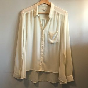 UO silence + noise sheer cream oversized blouse